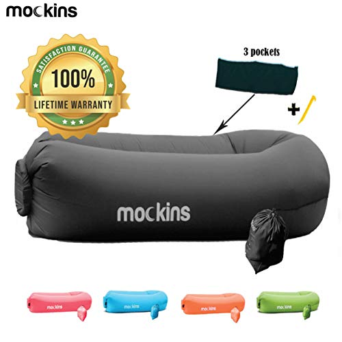 Mockins Black Inflatable Lounger Hangout Sofa Bed with Travel Bag Pouch The Portable Inflatable Couch Air Lounger is Perfect for Music Festivals and Camping Accessories Inflatable Hammock … … …