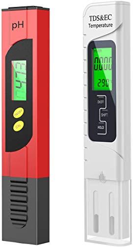 VISNAR Testeur pH Mètre Électronique, TDS&EC Mètre Température, 4 en 1 Testeur de Qualité de...