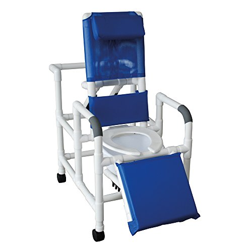 """MJM International 193-SQ-PAIL Reclining Shower Chair with Elevated Leg Extension and Commode Pail, 325 oz Capacity, 49.5"""" Height x 58.5"""" Length x 24"""" Width x 62"""" Depth, Royal Blue/Forest Green/Mauve"""