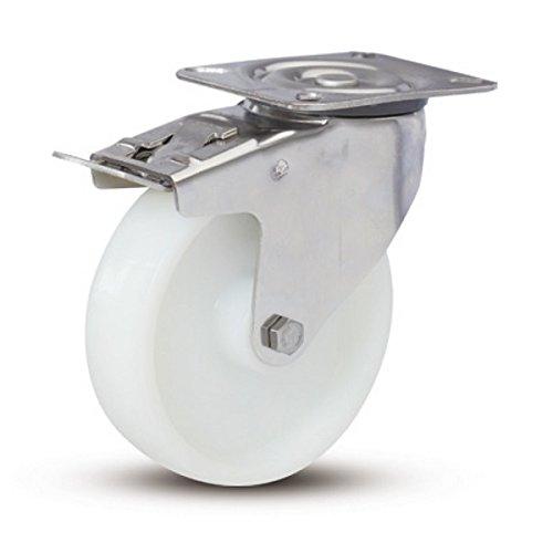 100 mm Nylon Edelstahl Lenkrolle mit Doppelstopp - RNY4-100 - Tragfähigkeit 180 kg