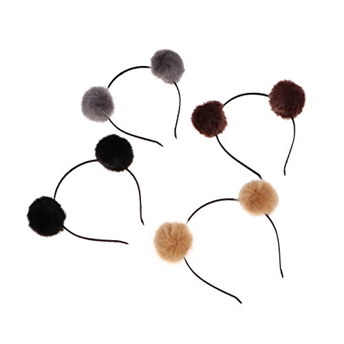 FRCOLOR Haarband mit Katzenohren, Bommel, für Mädchen, in Braun + Grau + Schwarz + Kamelhaarfarben, 4 Stück