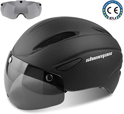 Shinmax Fahrradhelm CE-Zertifikat Fahrradhelm mit Abnehmbarer Schutzbrille Visor Shield für Männer Frauen Mountain & Road Fahrradhelm Einstellbarer Sicherheitsschutz Ski & Snowboard (SM-001)