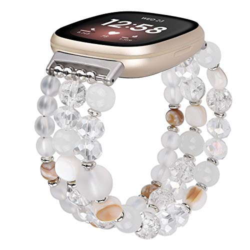 QINGQING Bracelet Band Compatible with Fitbit Versa 3/Fitbit Sense, Fashion Handmade Elastic Stretch Pearl Beads Replacement Wristbands Strap for Fitbit Versa 3/Sense Smartwatch (White)