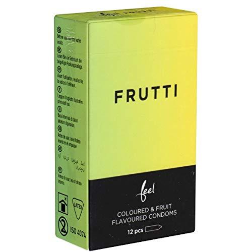 Feel Frutti, bunte Kondome mit Fruchtgeschmack (Banane, Erdbeere, Traube), 1 x 12 Stück