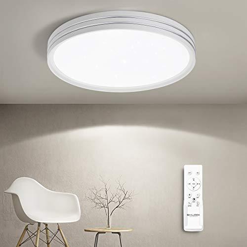 SHILOOK 24W Led Deckenleuchte Dimmbar mit Fernbedienung, 2050LM 3000-6500K Deckenlampe Sternenhimmel Rund für Schlafzimmer/Kinderzimmer/Küch/Wohnzimmer, Modern Weiß 40cm