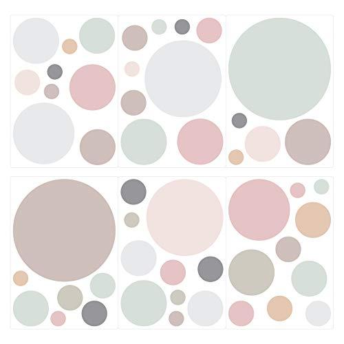 dekodino® Pegatina de pared pastel círculos en colores tiernos 50 piezas set