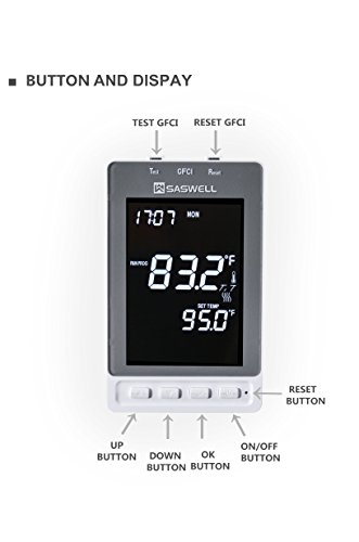 Home Floor Heating Thermostat With 7 Day Programmble,Build in GFCI,Large LCD Display 120/240VAC,Saswell SAS968FHL-7