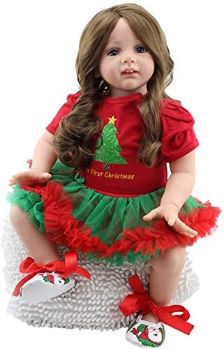 muñeca de juguete 60 cm Bebés de Reborn Muñecas Soft Silicone 24 pulgadas Niña Niña con el pelo largo Rizado Realista Realista Realista Muñeca Newborn Juguetes para el niño - Vestido rojo de Navidad