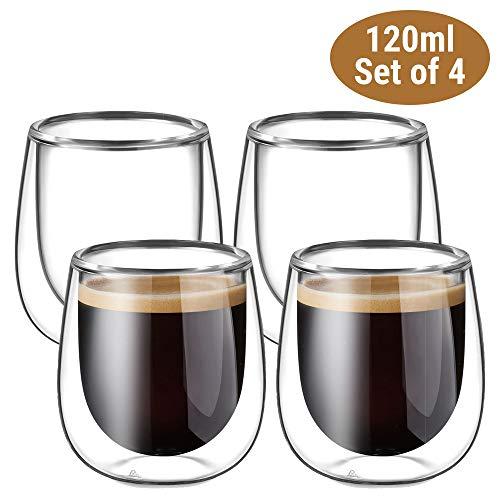 Glastal Doppelwandige Espressotassen Espresso Glaser Set Thermoglas Kaffeeglas Trinkgläser 4-teiliges 120ml (Volle Kapazität)
