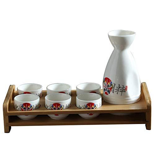 MISS KANG Juego de vasos japoneses con estante de 8 piezas de taza de sake tradicional de porcelana cerámica tazas artesanales copas de vino, E Qingchunw (color: A)