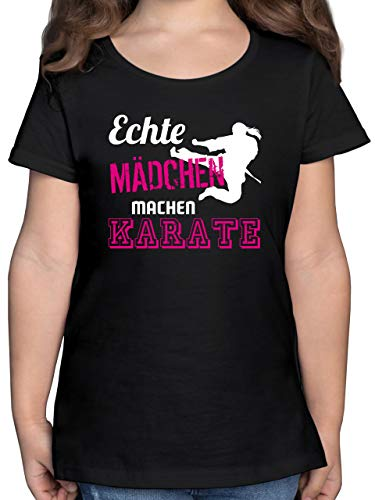 Sport Kind - Echte Mädchen Machen Karate - 164 (14/15 Jahre) - Schwarz - Karate t-Shirt - F131K - Mädchen Kinder T-Shirt