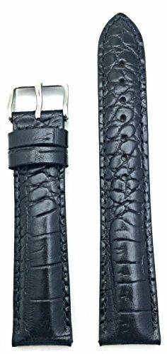 Cinturino in vera pelle nera da 18 mm | coccodrillo a grana di coccodrillo, resistente, classico, stile sportivo, cinturino di ricambio che porta nuova vita a qualsiasi orologio (lunghezza da uomo)