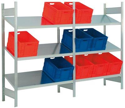 Schrägbodenregal, verzinkt, Anbaufeld mit 3 Stahl- Fachböden, Fachlast 150 kg, BxTxH 875x600x2000 mm