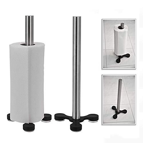 Oramics Toilettenpapierhalter Küchenrollenhalter mit Saugnäpfen – 33 cm hoch Ø 13,5cm – Küchenrollenständer mit 3 Saugnäpfen Toilettenpapierständer