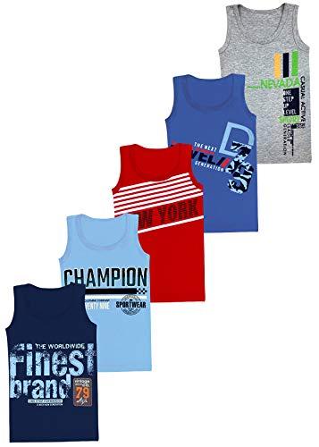 LOREZA ® 5 Pack Jungen Unterhemden aus Baumwolle Tank Top (152-158 (12-13Jahre), Modell 6)
