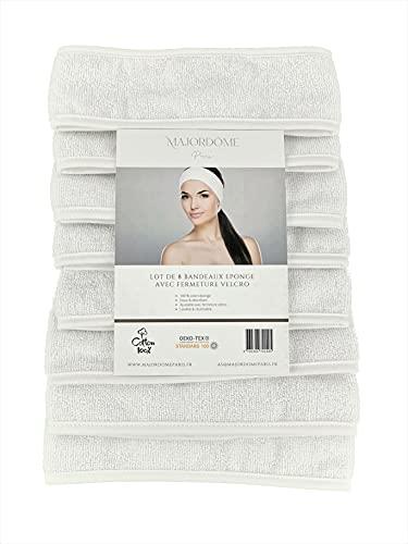Majordôme - Lote de 8 diademas para el cabello para mujer, 100% algodón esponja, diadema de pelo blanco lavable y ajustable con velcro suave y absorbente para el cuidado facial institutos, spa y yoga