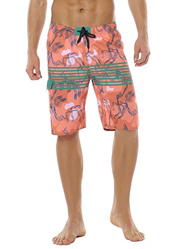 Meegsking Men Quick Dry Swim Trunks Solid Color Beach Board Shorts with Mesh Lining