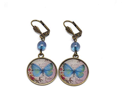 Pendientes flor resina mariposa azul rosa latón bronce perla regalos personalizados ceremonia...