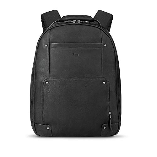 Solo Reade Vintage Leather Backpack. Fully Padded 15.6-Inch Laptop Compartment. Men's or Women's Backpack for Travel Office Bag, School Bag - Black