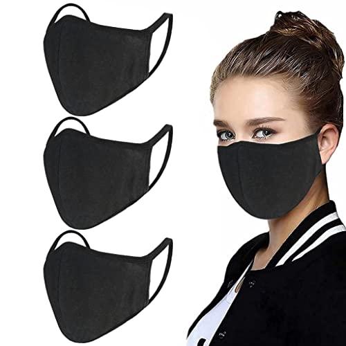 Paquete de 3 cubrebocas unisex – Alambre de nariz ajustable reutilizable de algodón cálido para exteriores