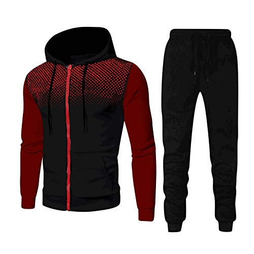 Men's 2piece Sets Tracksuit with Jacket Joggers Sportswear Set Casual Fitness Suit with Dots Hoodie Sweatshirt&Pants Wine