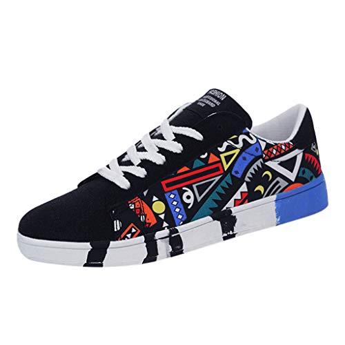 Patifia Schuhe Herren, Herrenmode Lässige Schnürschuhe für Canvas Sportschuhe Sneakers Graffiti Schuhe Segeltuchschuhe beiläufige Laufschuhe