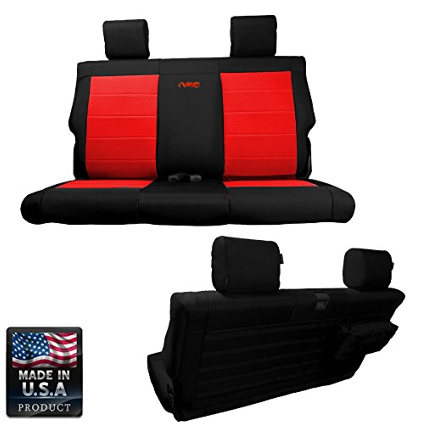 Bartact BTJKSC2013R2BR - 2013-2017 Jeep Wrangler JK 2-Door - Black/Red Mil-Spec with MOLLE System Rear Bench Seat Covers