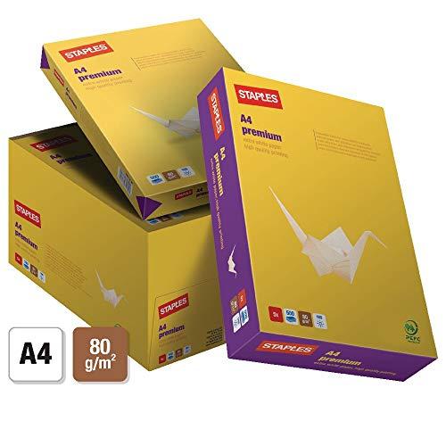 Staples Premiumpapier 500 Blatt 2500 Blatt A4 80 g 5 Stück