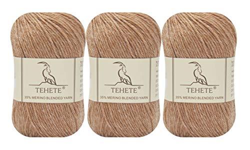 TEHETE 35% Hilo de lana merino, Digitación Peso, Hilo para tejer a...