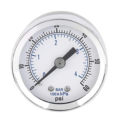 1/8'' Npt Air Compressor Hydraulic Pressure Gauge 0-60 Psi Back Mount Worldwide Store