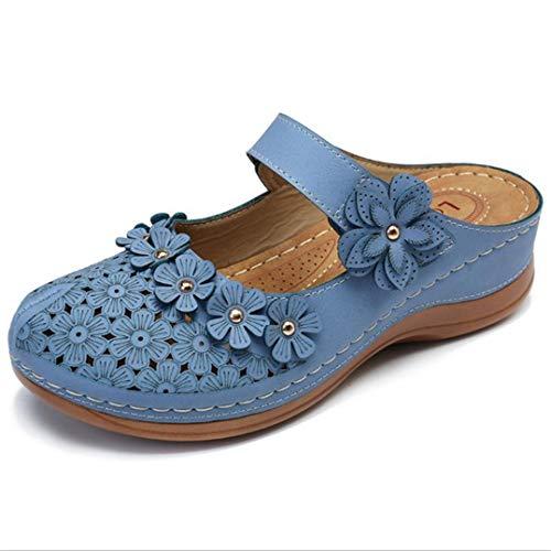 Platform Muilezels Voor Vrouwen Hol Retro Bloem Ronde Neus Flats Gesloten Teen Slingback Dikke Bodem Schoenen Casual Comfort Sleehak Sandalen