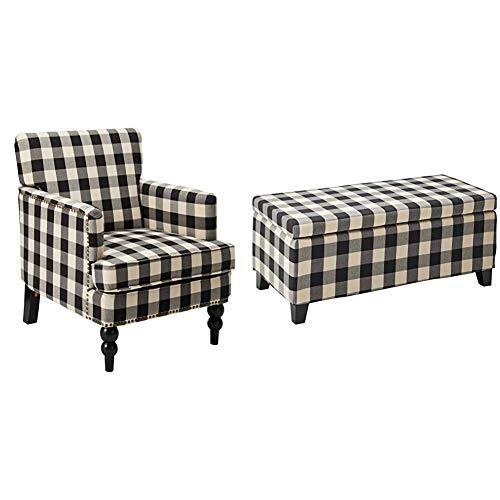 Christopher Knight Home Evete Tufted Fabric Club Chair, Black Checkerboard & Breanna Fabric Storage Ottoman, Black Checkerboard