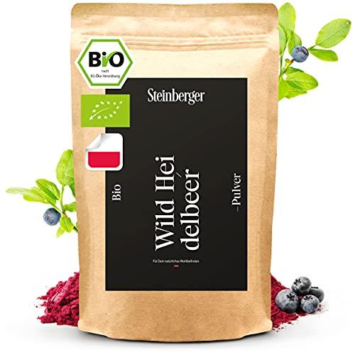 Bio Wildheidelbeer-Pulver 100g gefriergetrocknet | 100% natürlich ohne Zuckerzusatz u. ohne Zusatzstoffe ideal für Smoothie Bowls u. Superfood Shakes | Heidelbeerpulver vegan...