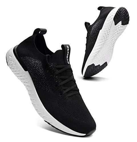 Sosenfer Turnschuhe Damen Herren Sneaker Sportschuhe Laufschuhe Atmungsaktiv Leichtgewichts Walkingschuhe-Schwarz07-41
