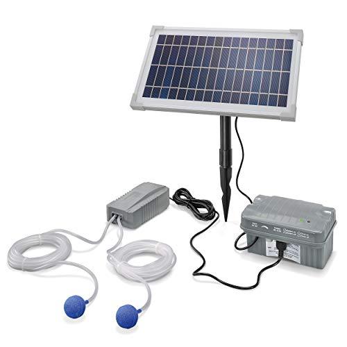 Solar Teichbelüfter Professional mit Akkuspeicher - 8W Solarmodul 200 l/h Luft - extragroßes Solarmodul plus Akku - Gartenteich Belüftung Sauerstoffpumpe Teich Luftpumpe Teichpumpe esotec pro 101846