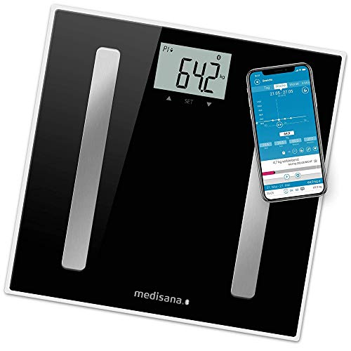 Medisana BS A45 Connect Báscula analítica digital de 180 kg, personal para medir la grasa corporal, el agua corporal, la masa muscular, el peso de los huesos, báscula de grasa corporal con app
