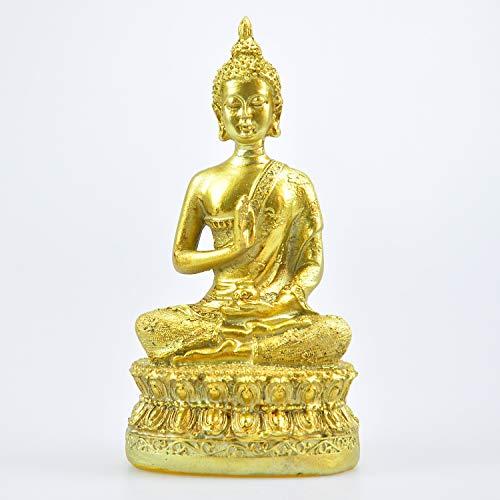 Imitation Bronze Buddha Statue Thai Shakyamuni Buddha Resin Handicraft Ornaments Feng Shui Decoration Collectibles (Ancient Gold)