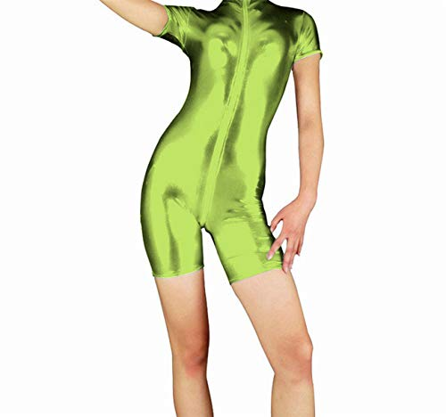 Lionel Philip Damen Kurzarm Ganzanzüge mit vorderem Schritt und Reißverschluss Spandex Metallic High Neck Schwarz Ganzanzüge Bodysuit Dancewear Lemon Green XXL