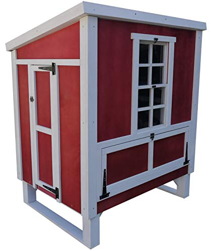 Omitree Deluxe Sturdy Wood Frame Plywood Chicken Coop Backyard Hen House 4-6 Chickens with 3 Nesting Box