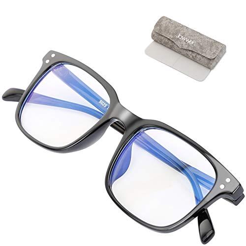 Jawwei ブルーライトカットメガネ, pcメガネ UVカット TR90 パソコン用メガネ 紫外線カット ウェリントン スクエア 伊達 男女兼用 メガネ ケース クリーニングクロス 3点セット (ブラック)