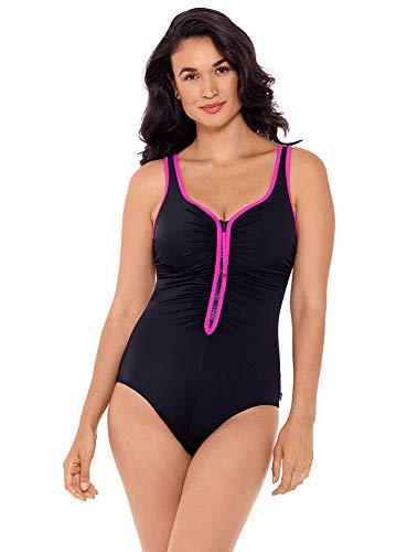 Reebok Women's Swimwear Zig Zag 2.0 Shirred Zipper Sweetheart Neckline Soft Cup One Piece Swimsuit, Pink, 08