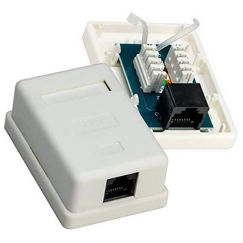 1 Stück erenLine® Cat 6 - RJ45 Netzwerkdose - 1 Port; mit Klemmleisten für werkzeugfreie Kabelmontage; für Aufputzmontage; max. Kabeldicke: 7 mm