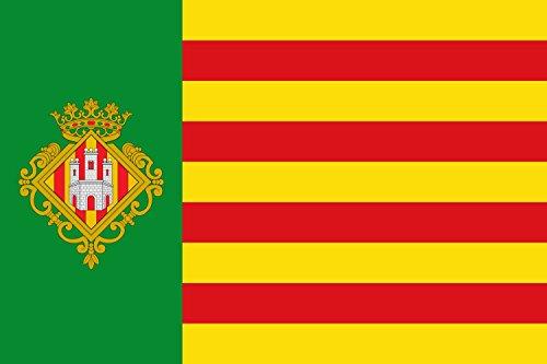 magFlags Bandera Large Castellón de la Plana España «Bandera de Proporciones 2 3. sobre Fondo Amarillo Cuatro Barras Rojas | Bandera Paisaje | 1.35m² | 90x150cm