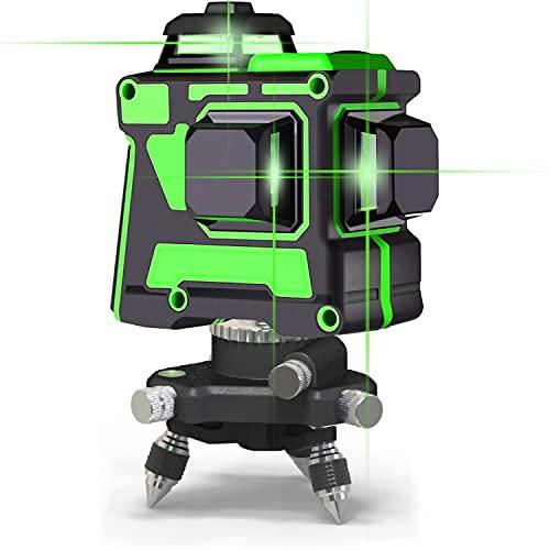 3d 12 lignes lumière verte niveau laser ligne verticale horizontale croix haute précision étanche auto-équilibrage intérieur extérieur Rechargeable mur sol plafond instrument de nivellement
