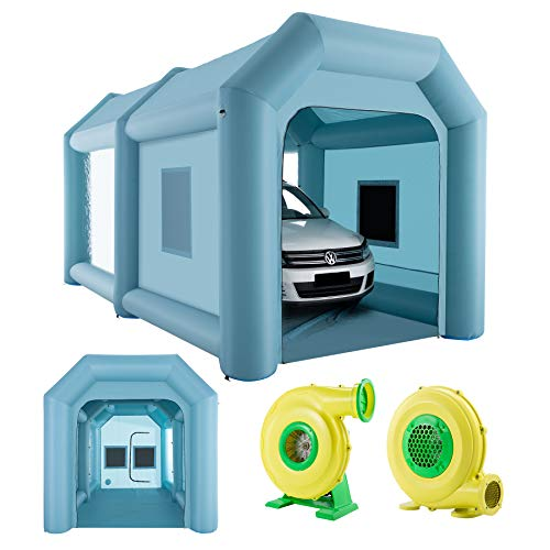 Orion Motor Tech 6x3x3m Inflatable Spray Booth, Giant Blow Up Spray Booth Workstation, Large Car Tent, Portable Garage with Air Filtration, 2 Electric Air Blower Pumps