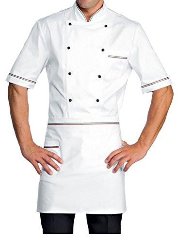 tessile astorino Bordado gratuito – Uniforme tricolor para cocinero y chef – Chaqueta y delantal – Fabricado en Italia Color blanco. S