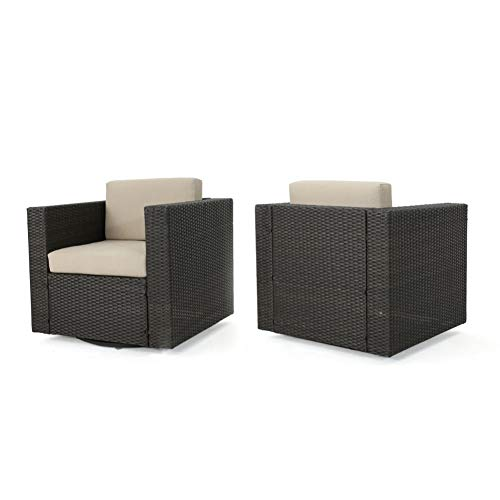 Christopher Knight Home Venice Outdoor Wicker Swivel Club Chair Water Resistant Cushions (Set of 2, Dark Brown/Beige)