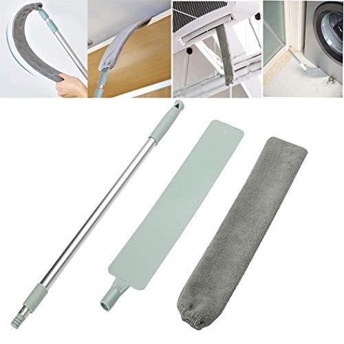 Cepillo Limpiador de Polvo con Varilla Telescópica de Acero Inoxidable,Plumero de Microfibra Lavable para el Hogar,Limpieza de Polvo para Muebles de Sofá Cama Piso