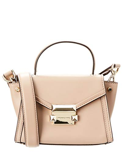 """7""""W x 5""""H x 3""""D (width is measured across the bottom of handbag) 2-1/4""""L handles; 20""""L to 22-1/2""""L removable strap 1 interior slip pocket Push-lock closure Leather; lining: polyester"""