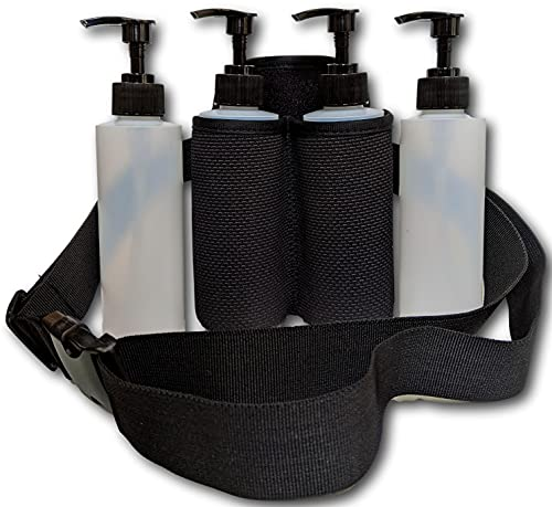 Earth's Essentials Double Massage Bottle Holster Bundle - Includes (4) Eight Ounce Bottles / (4) pumps / (4) Disc Caps & (1) Heavy Duty Insulated Double Holster With Belt for Massage Oils & Lotions